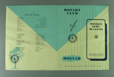 Newsletter, Rotary Club of Moonah 17 Dec 1956