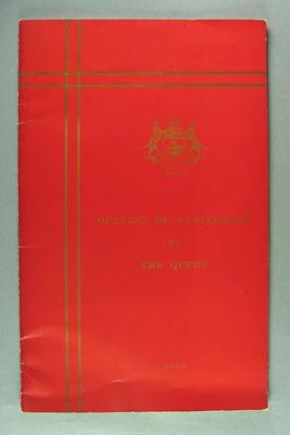 Programme for Opening of Tasmanian Parliament by Queen Elizabeth II, 1954