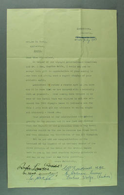 Letter from Olympic Entertainment Committee to Shirley Strickland, 15 July 1957