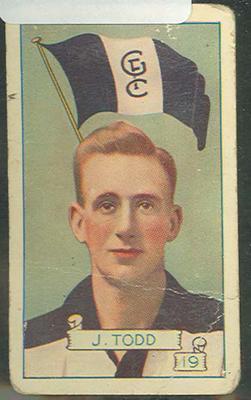 1934 Allen's League Footballers Jocka Todd trade card
