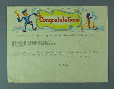 Telegram from Harold & Zara Holt to Shirley Strickland, 2 January 1957