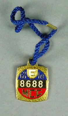 Melbourne Cricket Club membership badge, season 1968/69