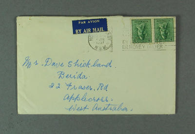 Envelope addressed to David Strickland, 7 January 1957
