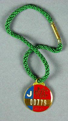 Melbourne Cricket Club junior membership medallion, 1970-71