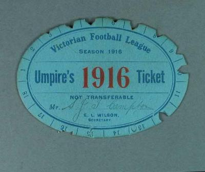 VFL Umpire's Ticket, season 1916