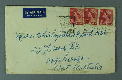 Envelope addressed to Shirley Strickland, 22 April 1957