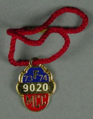 Melbourne Cricket Club membership medallion, 1973-74