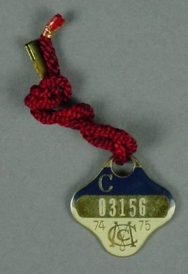 Melbourne Cricket Club country membership medallion, 1974-75; Trophies and awards; M12523.7