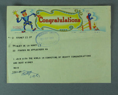 Telegram of congratulations from Jim Weir to Shirley Strickland, 23 October 1957