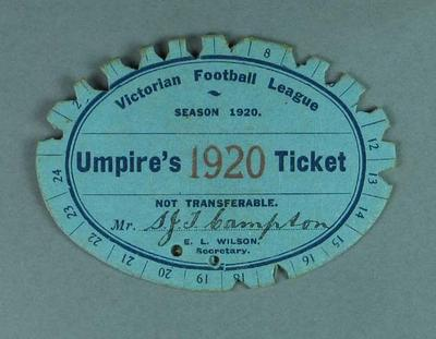 VFL Umpire's Ticket, season 1920; Documents and books; 1994.3039.291