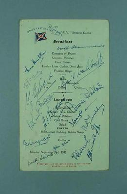 Menu signed by English cricket team, 1946