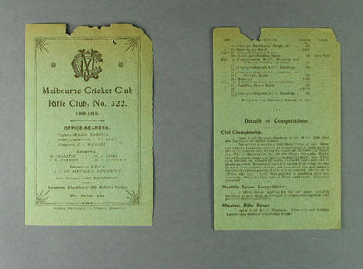 Programme, Melbourne Cricket Club - Rifle Club, 1909-10; Documents and books; M12532