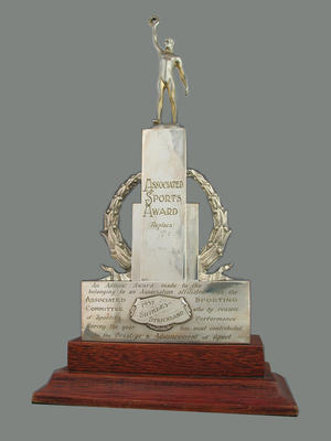 Associated Sports Award 1957 trophy, presented to Shirley Strickland