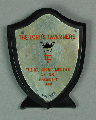 Plaque presented to Sir Robert Menzies, The Lord's Taverners President 1962