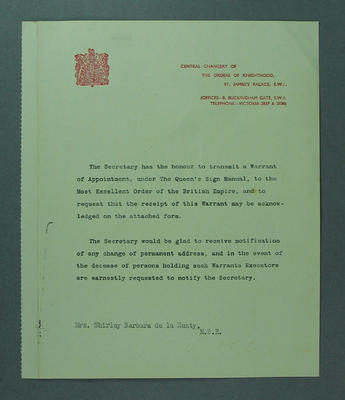 Letter from Central Chancery of the Orders of Knighthood to Shirley Strickland, 1957