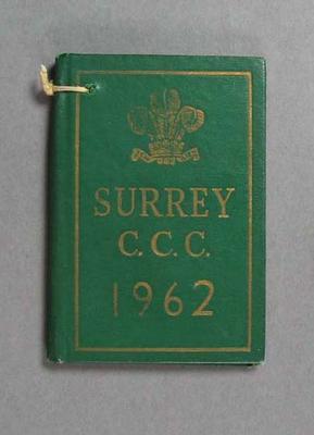 1962 Surrey County Cricket Club Full  Member ticket no. 4688 - A.L. Baer