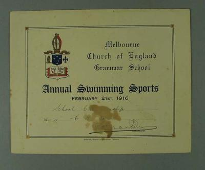 Certificate presented by Melbourne Church of England Grammar School, certifying that CH Esler won the School Championship on 21 February 1916