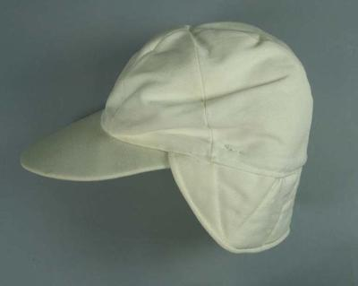 Padded Cream Cap worn with wire face guard during 1960-1970s experimental period between cloth helmets and plastic helmets - Lacrosse