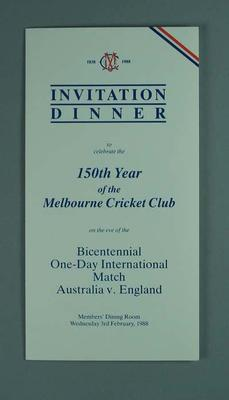 Menu for Melbourne Cricket Club 150th Anniversary Dinner, 3 February 1988