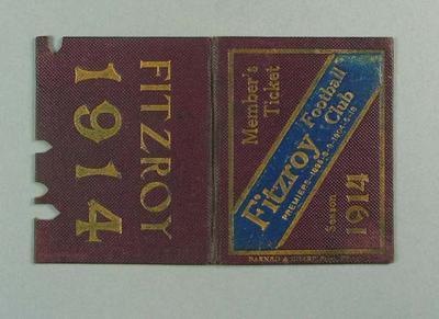 Season ticket, Fitzroy Football Club 1914