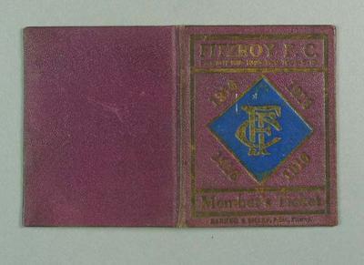 Season ticket, Fitzroy Football Club 1916