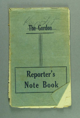 Notebook containing training notes, kept by Shirley Strickland