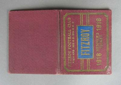 Season ticket, Fitzroy Football Club 1918