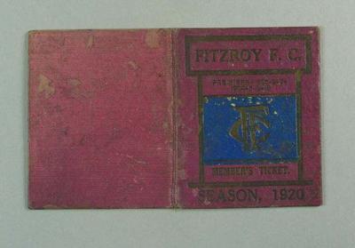 Season ticket, Fitzroy Football Club 1920