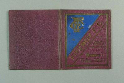 Season ticket, Fitzroy Football Club 1921