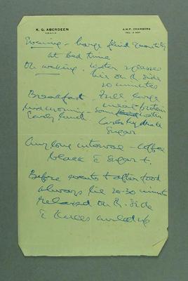 Notes on diet and exercise, written on KG Aberdeen FRACS letterhead