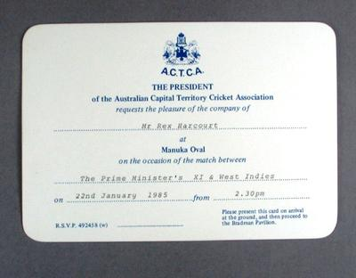 Invitation to Prime Minister's XI v West Indies cricket match, Manuka Oval - 1985; Documents and books; M12569