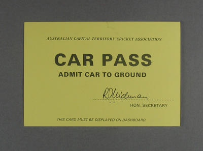 Car pass for Prime Minister's XI v West Indies cricket match, Manuka Oval - 1985; Documents and books; M12571