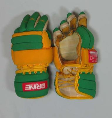 Lacrosse gloves used by Thomas Hardy at 1986 Lacrosse World Championships
