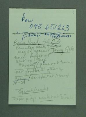 Scraps of paper found in AAUA Media Digest 1982-83