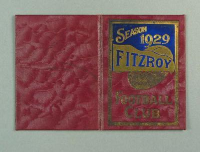 Season ticket, Fitzroy Football Club 1929; Documents and books; 1990.2248.30