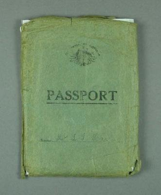 Passport cover, issued to Les Harley in 1936