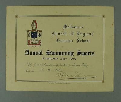 Certificate presented by Melbourne Church of England Grammar School, certifying that CH Esler finished second place in Fifty Yards Championship on 21 February 1916