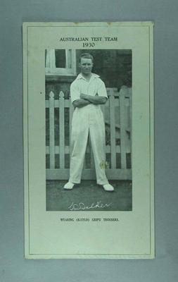 Mounted photograph, C W Walker - 1930