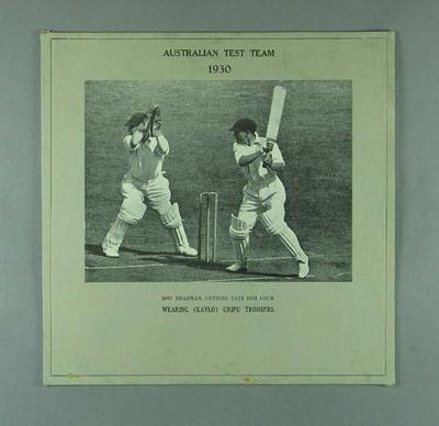 Mounted photograph, Don Bradman batting - 1930; Photography; Documents and books; M12716