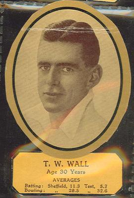 Card cut-out depicting T W Wall, c1934