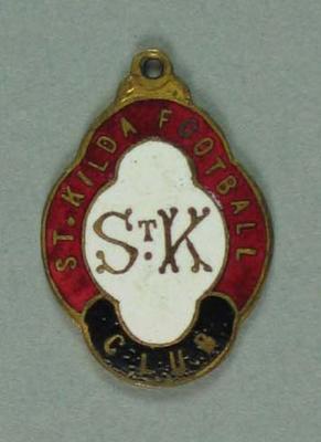 St Kilda Football Club membership badge. Member No. 13.; Trophies and awards; 1987.1494.2