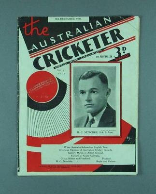 "Magazine, ""The Australian Cricketer"" - 30 Dec 1933"