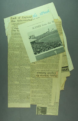 Newspaper clippings, associated with cricket c1928-37; Documents and books; M9065.3
