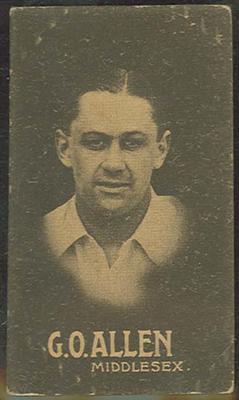 1932-33 Australian Licorice Pty Ltd Cricketers G O Allen trade card