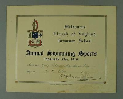 Certificate presented by Melbourne Church of England Grammar School, certifying that CH Esler finished second place in the Hundred Yards Championship on 21 February 1916