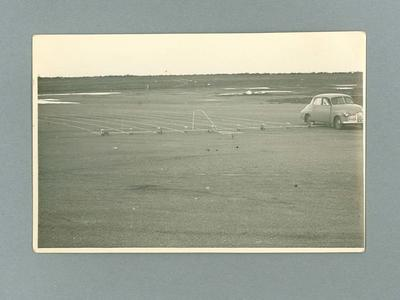 Photograph, demonstration of line master running track marking machines at Kerang Airfield - 1956