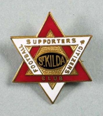 Badge, St Kilda Football Supporters & Citizens Club c1930s