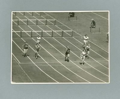 Betty Cuthbert competing in the hurdles event  at the MCG, 1956 Olympic Games
