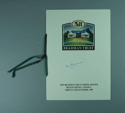Menu for Bradman Trust Spring Dinner, 13 Oct 1989; Documents and books; Documents and books; 1989.2173