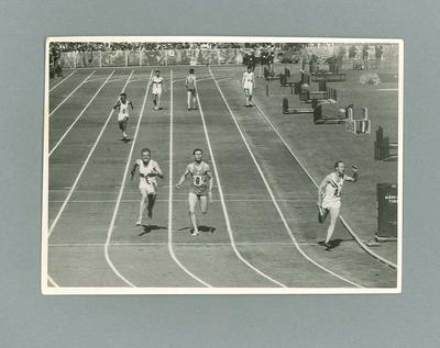 Hector Hogan finishing in 4 x 100 Relay at the MCG, 1956 Olympic Games; Photography; 2004.4123.35